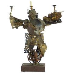 Large Mexican Sculpted Brutalist Figurative Candelabra, 1950s
