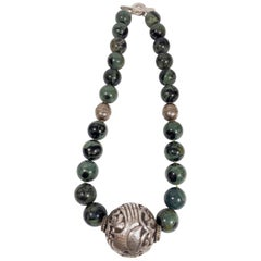 Large Mexican Silver and Serpentine Stone Vintage Necklace