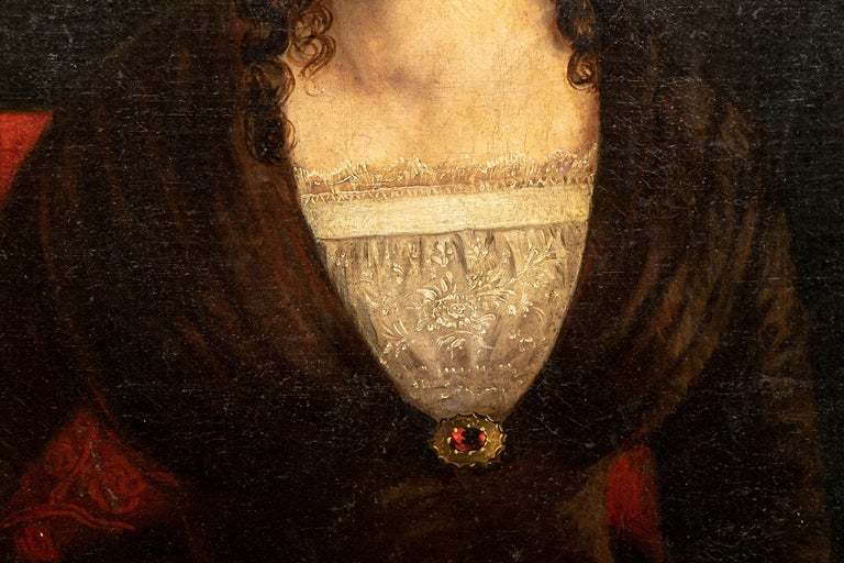 American Classical Large Mid-19th Century American School Oil on Canvas, Portrait of Young Woman For Sale