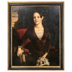 Large Mid-19th Century American School Oil on Canvas, Portrait of Young Woman