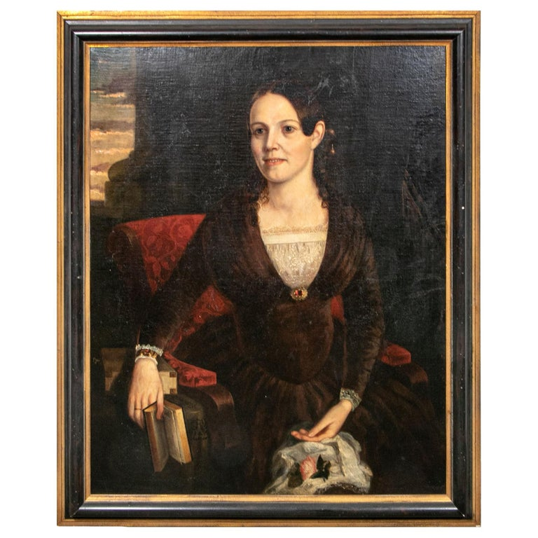 Large Mid-19th Century American School Oil on Canvas, Portrait of Young Woman For Sale