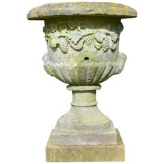 Large Mid-19th Century Carved Stone Urn