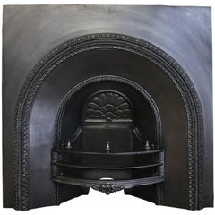 Large Mid-19th Century Cast Iron Arched Fireplace Grate