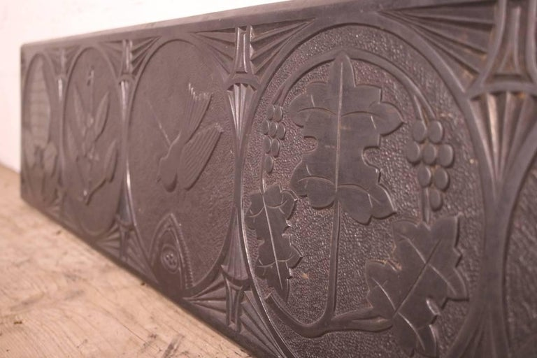 Welsh Large Mid-19th Century Decorative Folk Art Carved Slate Panel For Sale