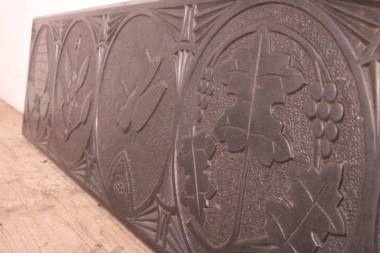 Large Mid-19th Century Decorative Folk Art Carved Slate Panel In Good Condition For Sale In Manchester, GB
