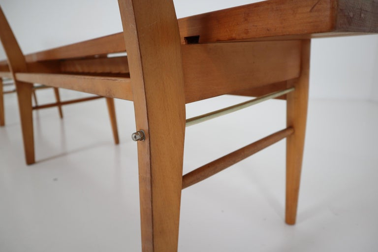 Large Mid-20 Century Scandinavian Wooden Bench For Sale 4