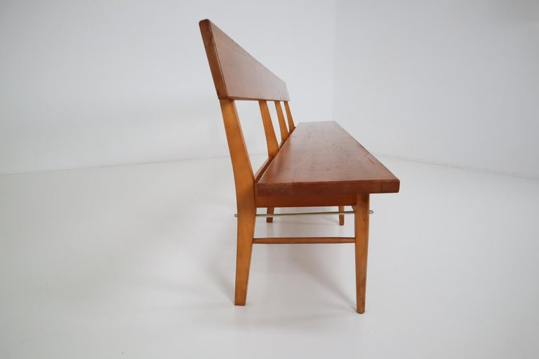 Large Mid-20 Century Scandinavian Wooden Bench For Sale 5