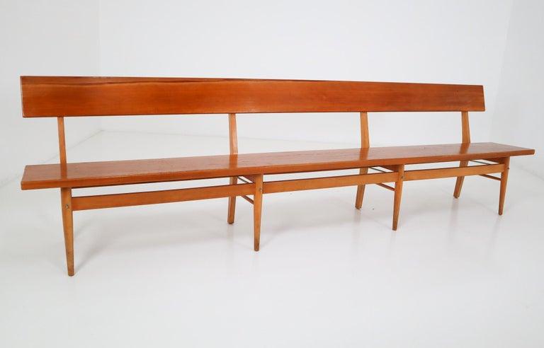 Mid-Century Modern Large Mid-20 Century Scandinavian Wooden Bench For Sale