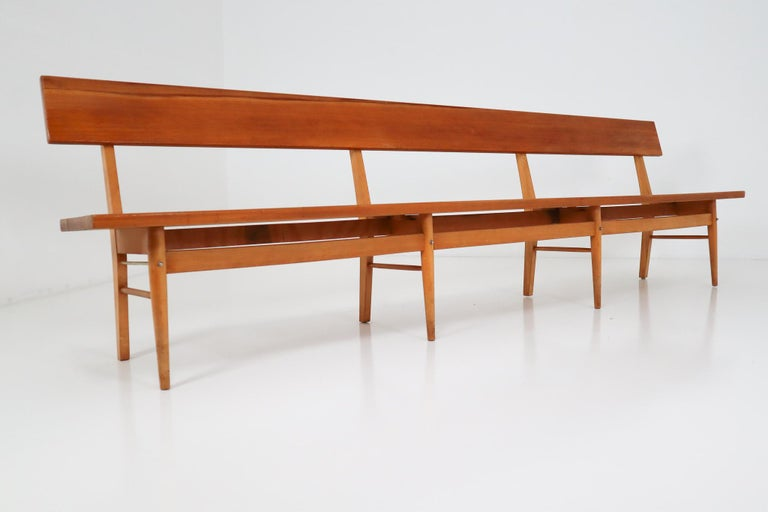 Large Mid-20 Century Scandinavian Wooden Bench In Good Condition For Sale In Almelo, NL