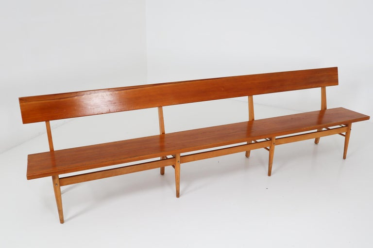 20th Century Large Mid-20 Century Scandinavian Wooden Bench For Sale
