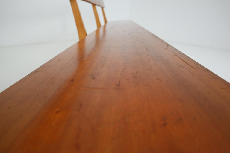 Large Mid-20 Century Scandinavian Wooden Bench For Sale 1
