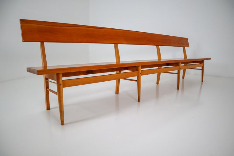 Large Mid-20 Century Scandinavian Wooden Bench For Sale 2
