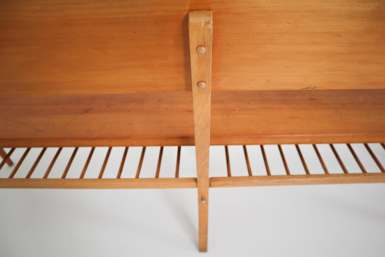Large Mid-20 Century Scandinavian Wooden Bench For Sale 3