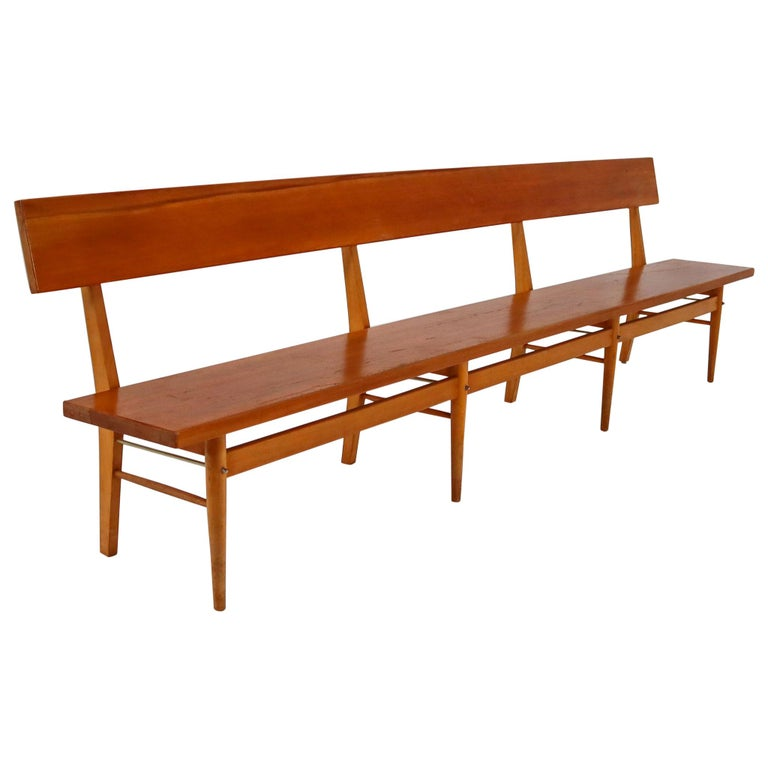 Large Mid-20 Century Scandinavian Wooden Bench For Sale