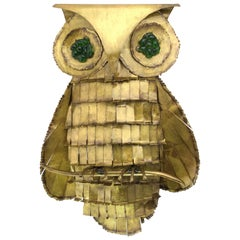 Large Mid-20th Century Brass Owl with Green Glass Eye Wall Sculpture Jere Style