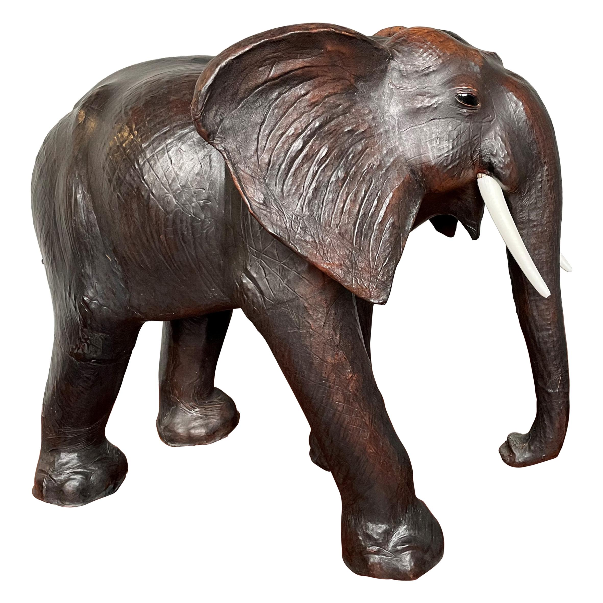 Large Mid 20th Century Elephant Sculpture Leather on Hand-Carved Wood