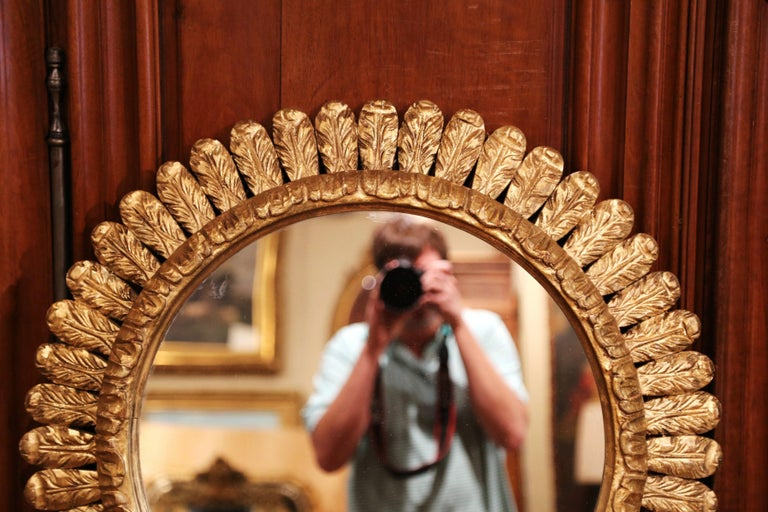 Large Mid-20th Century, French Carved Gilt Wood Sunburst Mirror In Excellent Condition For Sale In Dallas, TX