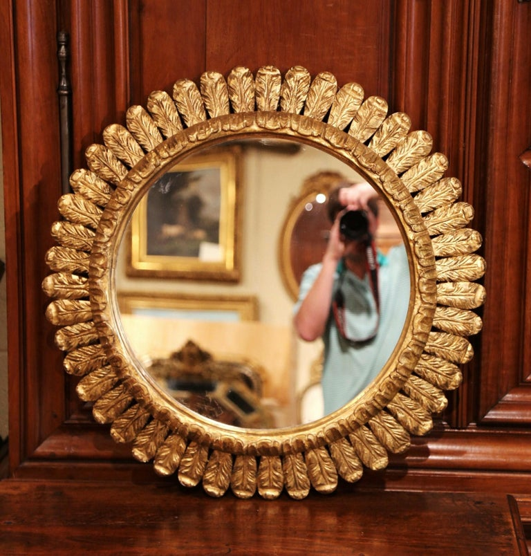 Giltwood Large Mid-20th Century, French Carved Gilt Wood Sunburst Mirror For Sale