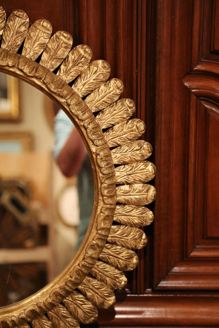Large Mid-20th Century, French Carved Gilt Wood Sunburst Mirror For Sale 2