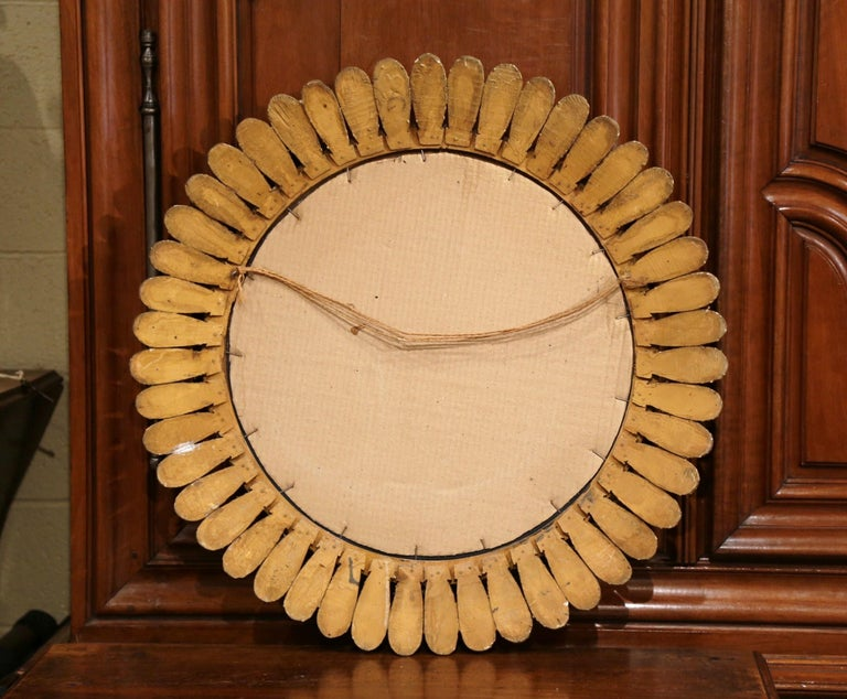Large Mid-20th Century, French Carved Gilt Wood Sunburst Mirror For Sale 3