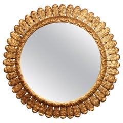 Large Mid-20th Century, French Carved Gilt Wood Sunburst Mirror
