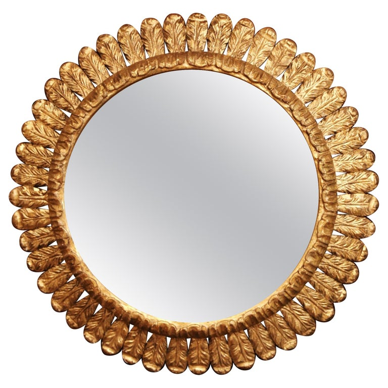 Large Mid-20th Century, French Carved Gilt Wood Sunburst Mirror For Sale