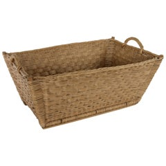 Large Mid-20th Century French Handwoven Rattan and Wooden Laundry Basket
