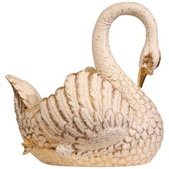 Large Mid-20th Century French White and Gilt Porcelain Swan Jardinière