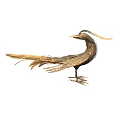 Large Mid-20th Century Italian Gilt Metal Bird