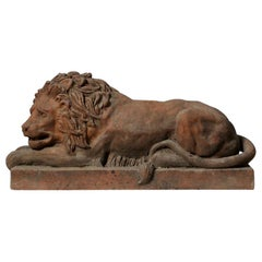 Large Mid-20th Century Terracotta Canova Lion