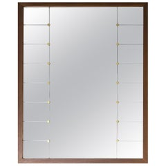 Large Midcentury Oak and Brass Mirror by Glas & Tra
