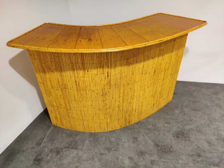 Mid-Century Modern Large Midcentury Bamboo Bar, 1960s For Sale
