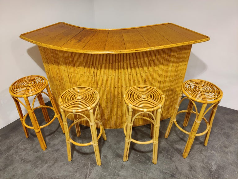 French Large Midcentury Bamboo Bar, 1960s For Sale