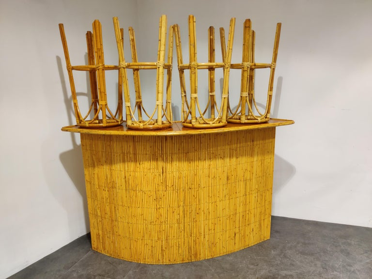 Large Midcentury Bamboo Bar, 1960s In Good Condition For Sale In Ottenburg, BE