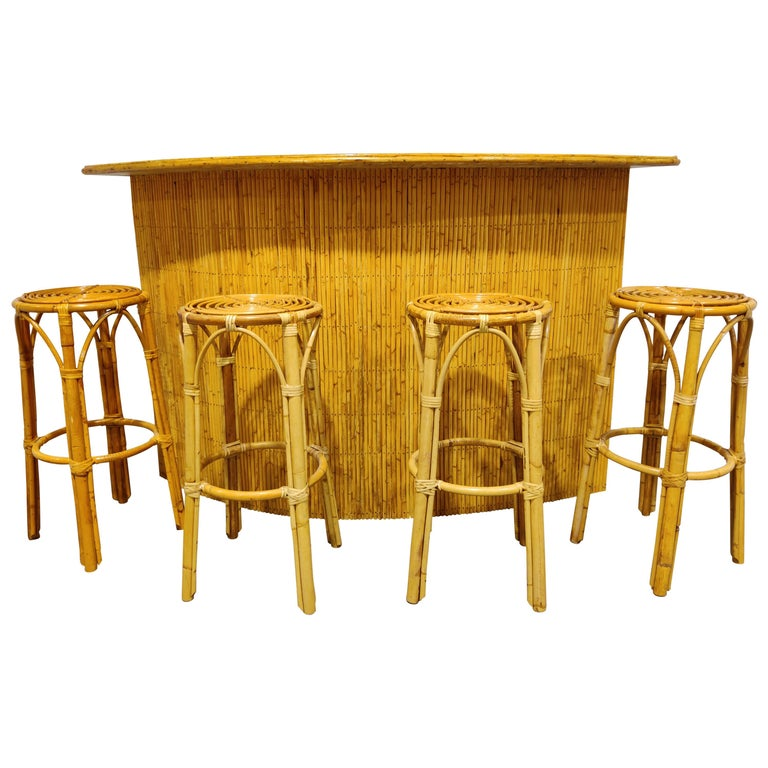 Large Midcentury Bamboo Bar, 1960s For Sale