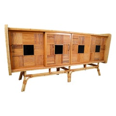 Large Mid Century Bamboo Cabinet / Dresser, France, 1950s