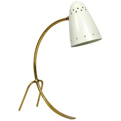 Large Midcentury Brass Metal Table Lamp by J. T. Kalmar Wien Made in Austria
