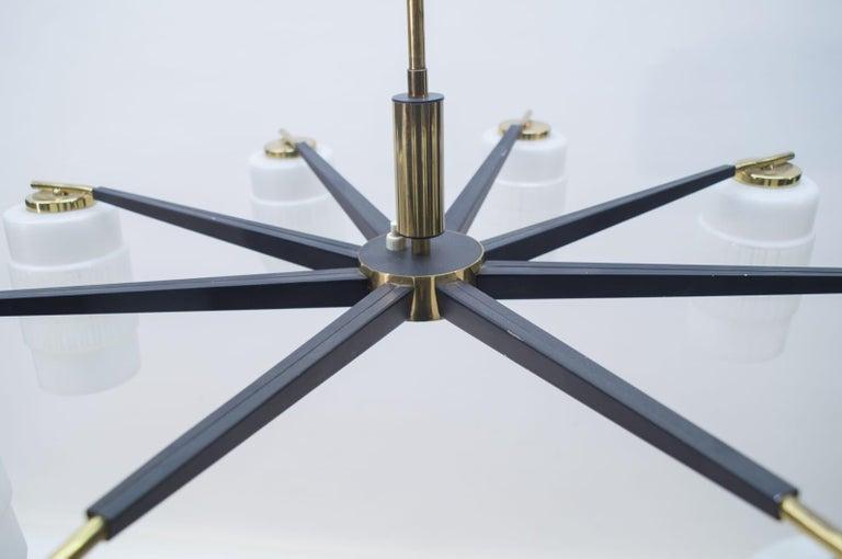 Large Midcentury Brass Pendant Sputnik Lamp, Germany 1970s For Sale 4