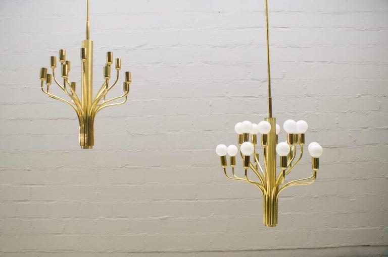 Late 20th Century Large Midcentury Brass Pendant Sputnik Lamp, Germany, 1970s For Sale