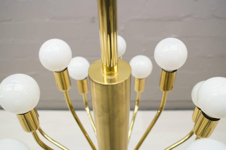 Large Midcentury Brass Pendant Sputnik Lamp, Germany, 1970s For Sale 1