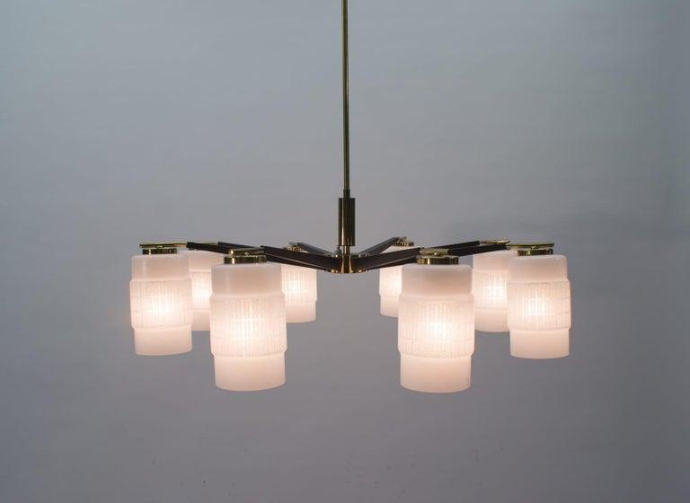 Metal Large Midcentury Brass Pendant Sputnik Lamp, Germany 1970s For Sale