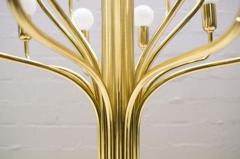 Large Midcentury Brass Pendant Sputnik Lamp, Germany, 1970s For Sale 4