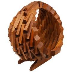 Large Midcentury Brown Wood Tramp Art Style Storage Basket or Planter