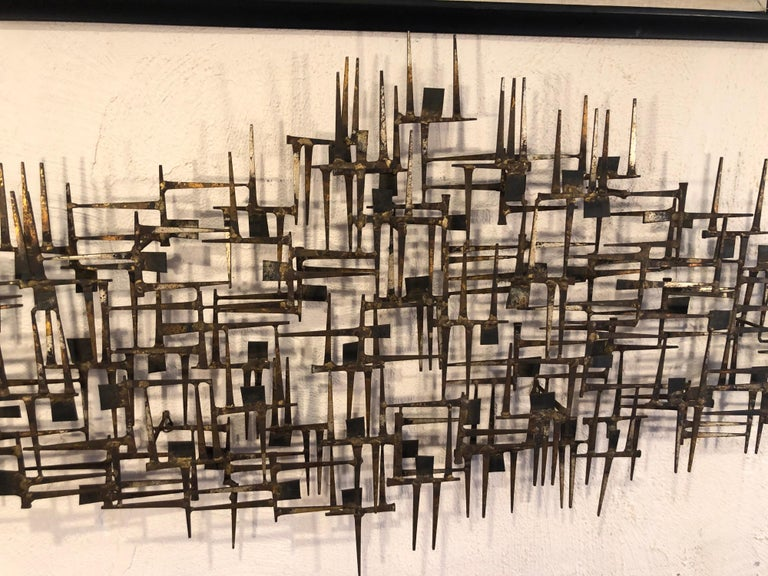 Large Midcentury Brutalist Nail Wall Sculpture Attributed to Weinstein For Sale 2