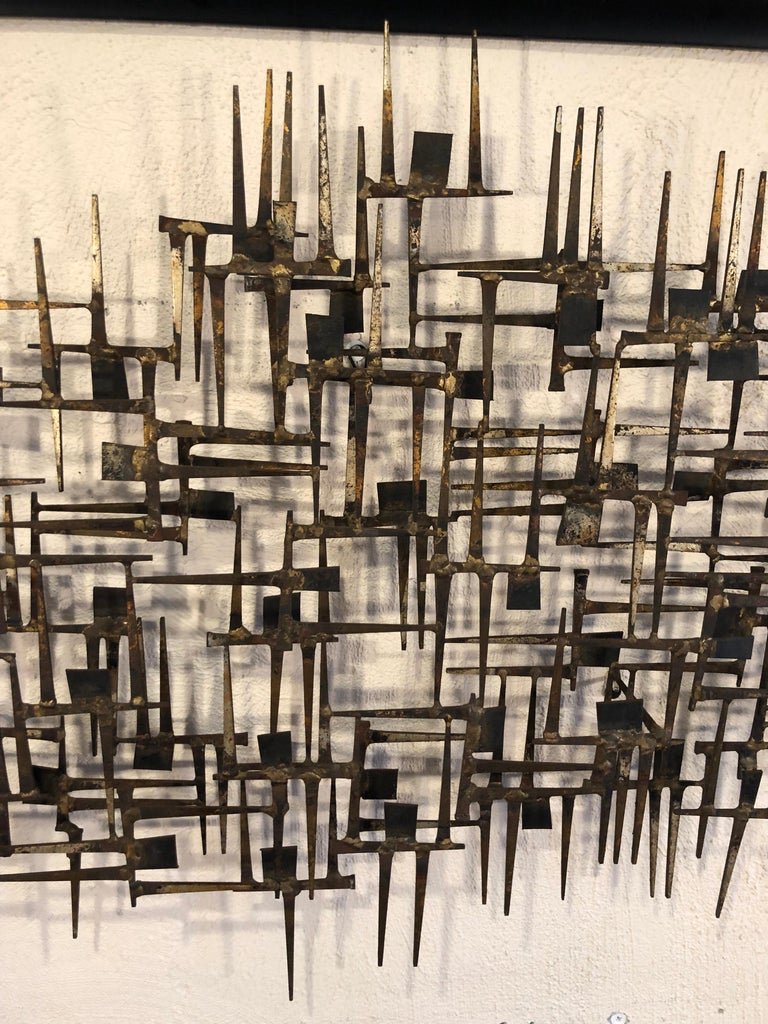 Large Midcentury Brutalist Nail Wall Sculpture Attributed to Weinstein For Sale 3