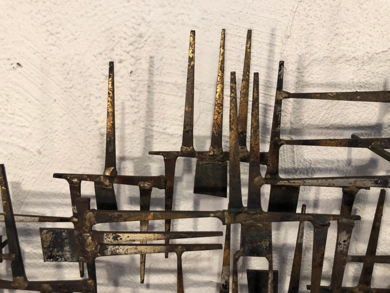 Large Midcentury Brutalist Nail Wall Sculpture Attributed to Weinstein For Sale 5