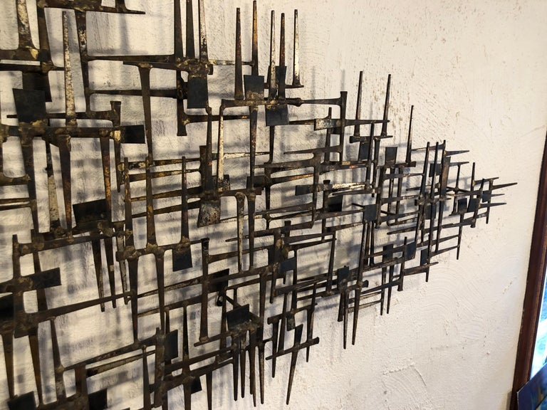 Large Midcentury Brutalist Nail Wall Sculpture Attributed to Weinstein For Sale 7