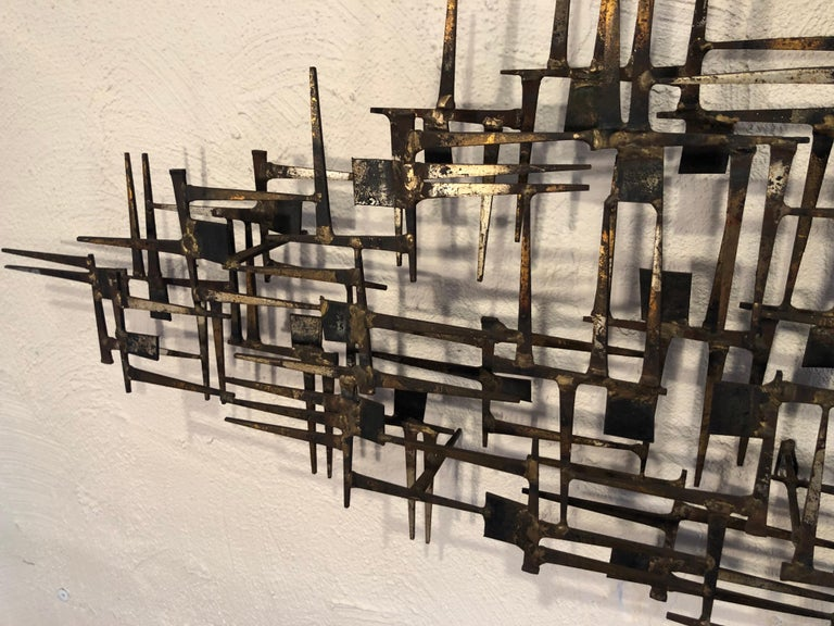 Large Midcentury Brutalist Nail Wall Sculpture Attributed to Weinstein For Sale 8