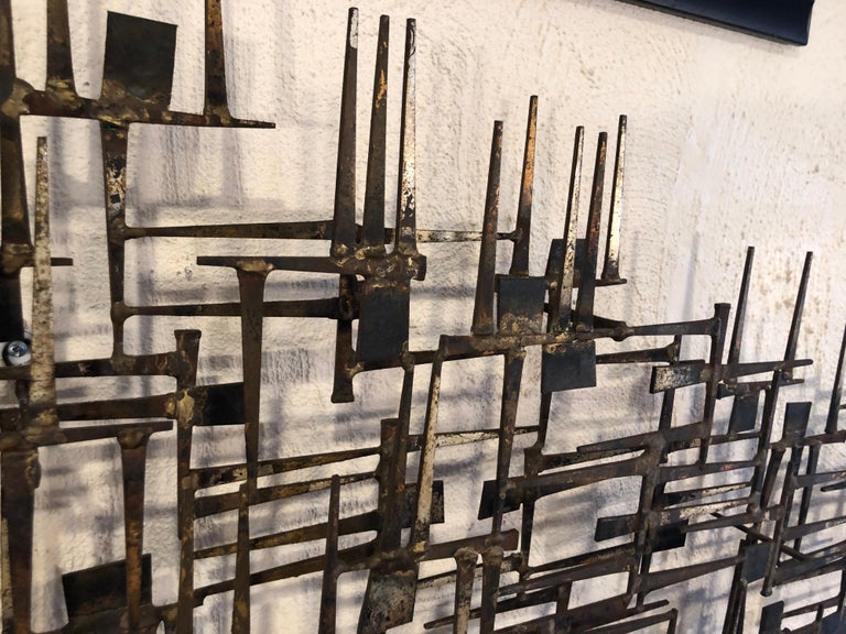 Large Midcentury Brutalist Nail Wall Sculpture Attributed to Weinstein For Sale 11