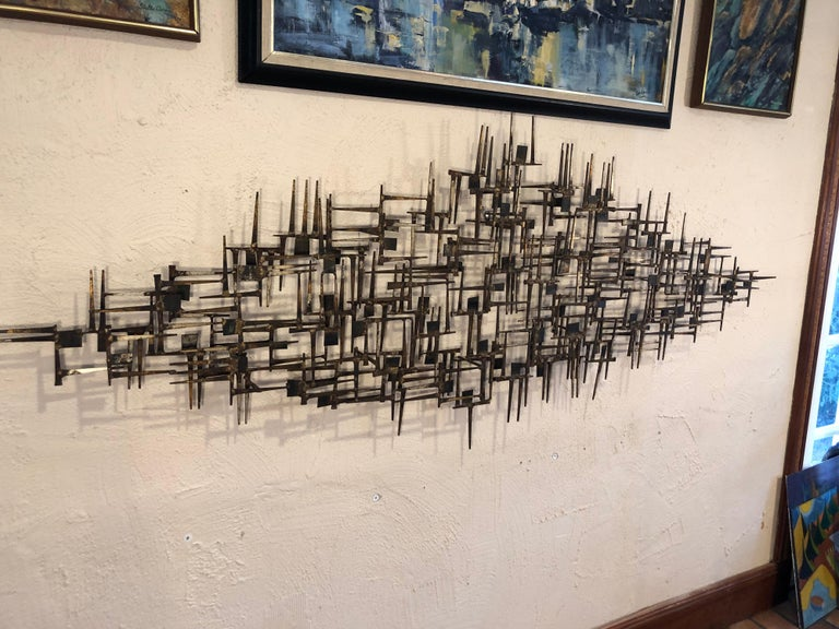 Mid-Century Modern Large Midcentury Brutalist Nail Wall Sculpture Attributed to Weinstein For Sale